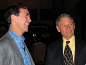 Kevin Kimberlin celebrating with Leonard Kleinrock, one of the fathers of the Internet.